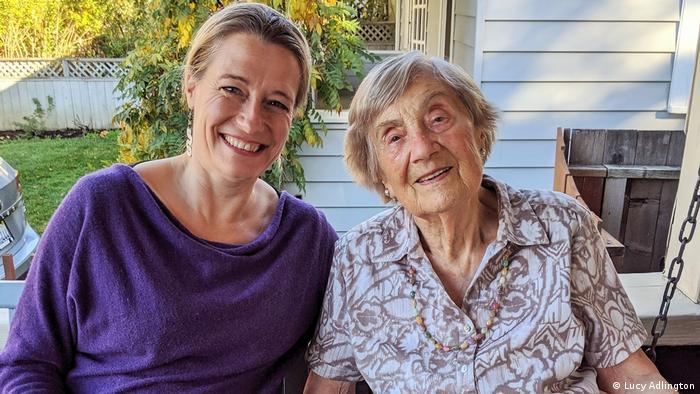 Lucy Adlington (left) with 98-year-old Bracha Kohut, a surviving Auschwitz dressmaker(Lucy Adlington)