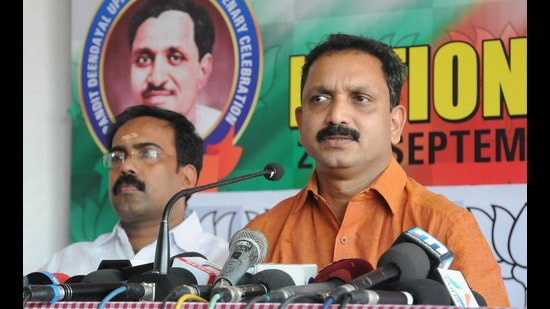 BJP state president K Surendran alleged that the case against him was politically motivated (ht photo)