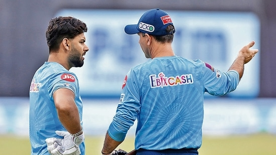 Rishabh Pant and Ricky Ponting of Delhi Capitals at an IPL match held at the Wankhede Stadium in Mumbai on April 10. (Arjun Singh / Sportzpics for IPL)