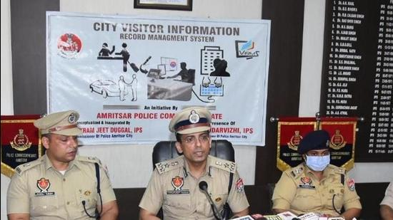 The software will help Amritsar Police track down visitors in real time and use that data to prevent crime, police commissioner Vikram Jeet Duggal told a press conference. (HT Photo)
