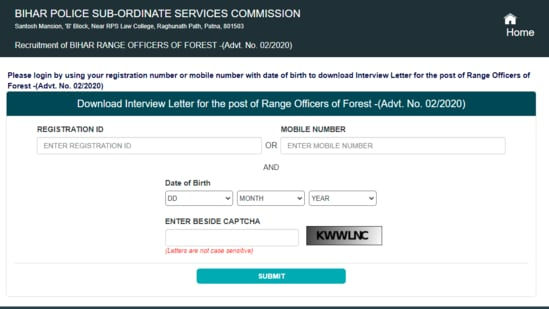 Bihar police interview letter: Bihar Police Sub-ordinate Services Commission has released the interview letter for the post of range officers of forest in environment, forest & climate change department of government of Bihar on its official website.(bpssc.bih.nic.in)