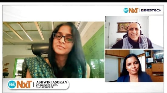 Ashwini Asokan, co-founder and CEO of Mad Street Den and Geeta Manjunath, founder and CEO of Niramai in conversation with Leslie D'Monte, executive editor, Mint.(Mint Print)