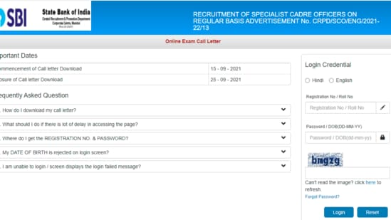 SBI SCO admit cards 2021: Candidates who have applied for SBI SCO recruitment examination can download their call letters from the official website of SBI at sbi.co.in.(sbi.co.in)