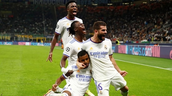 Real Madrid's Rodrygo celebrates scoring their first goal with teammates(REUTERS)