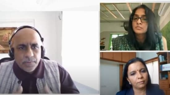 Leslie D'Monte (Tech Editor, Mint) in coversation with Ashwini Asokan (top right)- Co founder and CEO of Mad Street Den and Dr Geetha Manjunath (bottom right)- Founder and CEO of Niramai(Screengrab)
