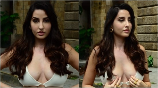 Nora Fatehi's steamy look in white cut-out dress turns heads in Mumbai, all pics