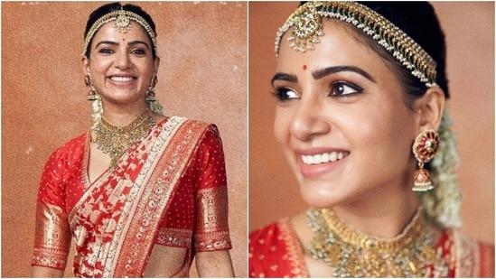 Samantha Akkineni in Banarasi saree serves the perfect wedding look, brides-to-be take notes(Instagram/@samantharuthprabhu)