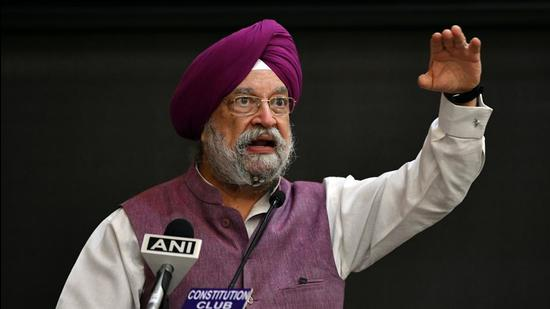 Union housing, urban affairs, and petroleum and natural gas minister Hardeep Singh Puri speaks at an event in New Delhi on Thursday. (ANI)