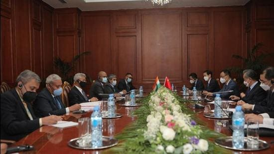 India, China hold talks on the sidelines of SCO Summit in the Tajikistan capital of Dushanbe on Thursday. (Twitter)