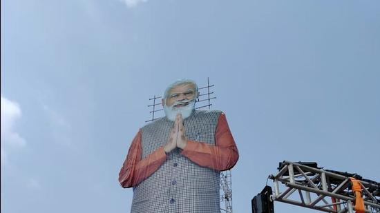 A 71-feet cut-out of PM Narendra Modi is set up in Gujarat (HT Photo)