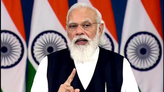 Prime Minister Narendra Modi addresses SCO-CSTO (Collective Security Treaty Organization) summit outreach on Afghanistan, through video conferencing in New Delhi on Friday. (ANI PHOTO.)