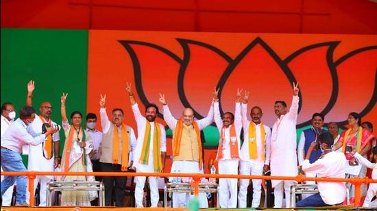 Union Home minister Amit Shah address a BJP rally in Telangana on Friday. (HT Photo)