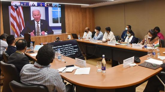 Union minister Bhupender Yadav in a virtual meeting at the Major Economies Forum on Energy and Climate (MEF) hosted by US President Joe Biden, in New Delhi, on Friday. (PTI)