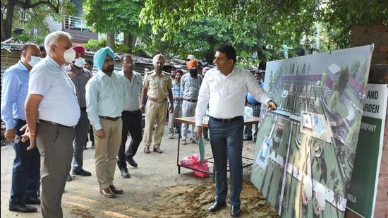 Ministry of Urban Housing and Urban Affairs secretary Durga Shankar Mishra at the Mini Rose Garden in Ludhiana on Friday. (Gurpreet Singh/HT)