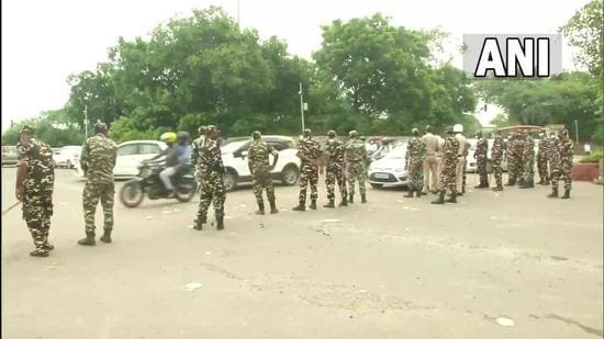 Security personnel deployed at Delhi's Shankar road area, in view of a protest march to be held by Shiromani Akali Dal, against Centre's three farm laws. (ANI)