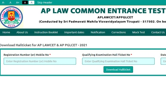 AP LAWCET & PGLCET hall ticket 2021: Candidates who have applied for the examination can download their hall tickets from the official website of APSCHE at sche.ap.gov.in.(sche.ap.gov.in)