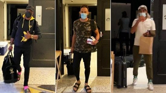 DJ Bravo (L), Faf du Plessis and Imran Tahir (R) arrive in the UAE for IPL 2021(HT Collage)