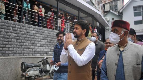 Union minister Anurag Thakur during his visit to Kamla Nehru Hospital in Shimla on Friday. (Deepak Sansta/Hindustan Times)