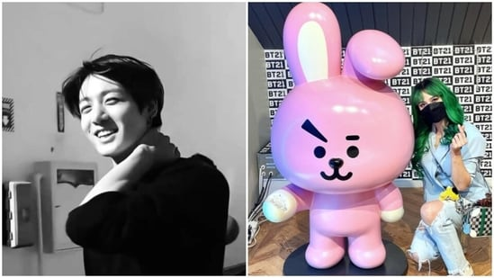 Jungkook gets a gift from Arci Muñoz.
