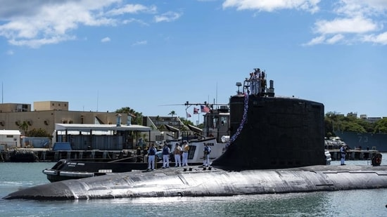 The Virginia-class fast-attack submarine USS Illinois returns home to Joint Base Pearl Harbour-Hickam from a deployment in the 7th Fleet area of responsibility.(AP)