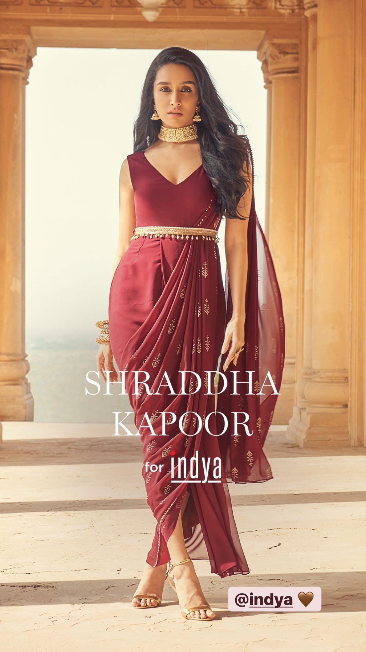 Shraddha Kapoor in wine foil pallu belted saree tunic from Indya(Instagram/shraddhakapoor)