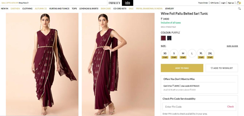 Shraddha Kapoor's wine foil pallu belted saree tunic from Indya(houseofindya.com)