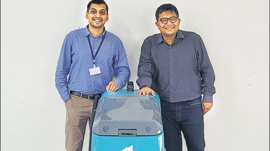 Pune-based startup Peppermint, which has designed and built an industrial floor-cleaning robot, was founded by serial entrepreneurs Runal Dahiwade and Miraj C Vora. (HT PHOTO)