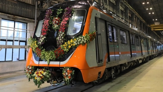 The first trainset for Kanour and Agra Metro projects as unveiled by Alstom on Saturday.
