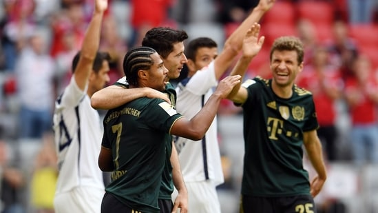 Bayern Munich's Robert Lewandowski celebrates.(REUTERS)
