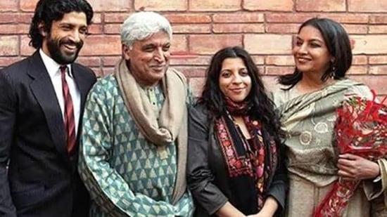 Shabana Azmi with husband Javed Akhtar, kids, Farhan and Zoya.