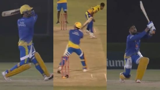 MS Dhoni brining displaying some magnificent strokeplay.(CSK/Twitter)