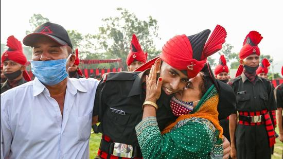 At the passing out parade, some family could not hide their pride at their ward making it to the army. (PTI)