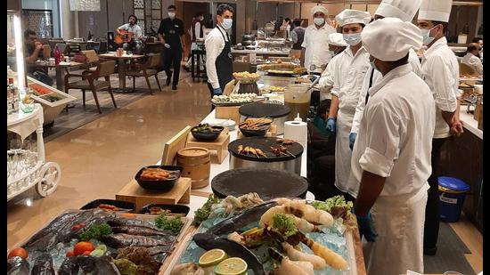 The Sunday Brunch at a city hotel (HT Photo)