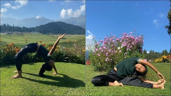 Ankita Konwar's one-hand Chakrasana, side-stretch in Kashmir is fitness goals