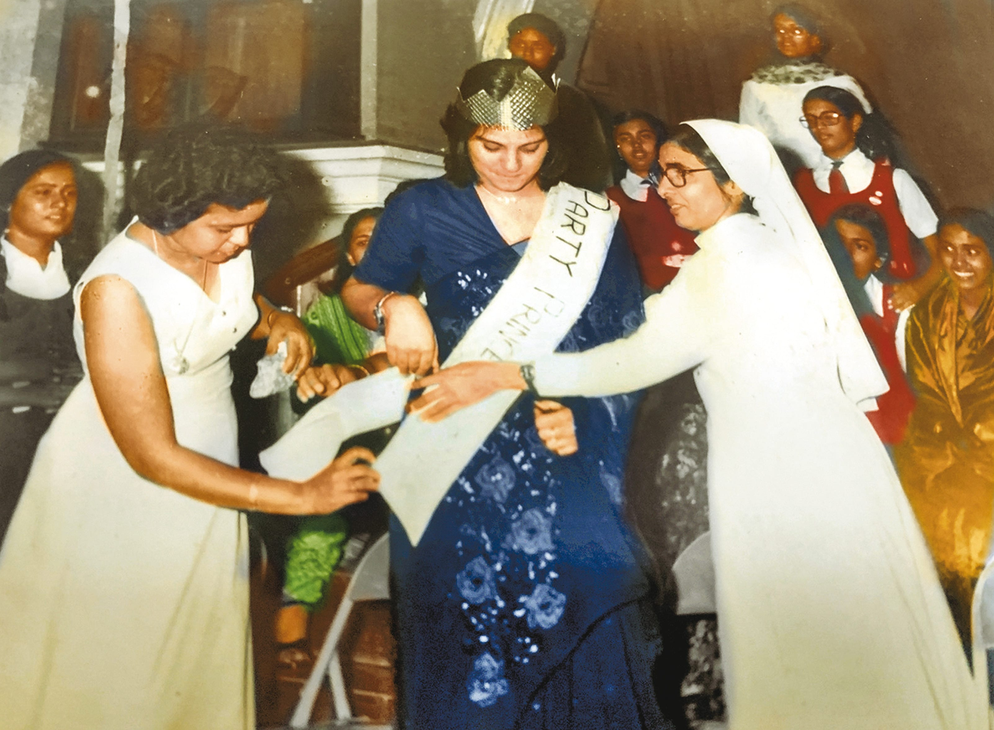 Crowned Mrs. St. Anne's Secunderabad in farewell to school with teacher Mrs. D'Souza and principal Sister Mary