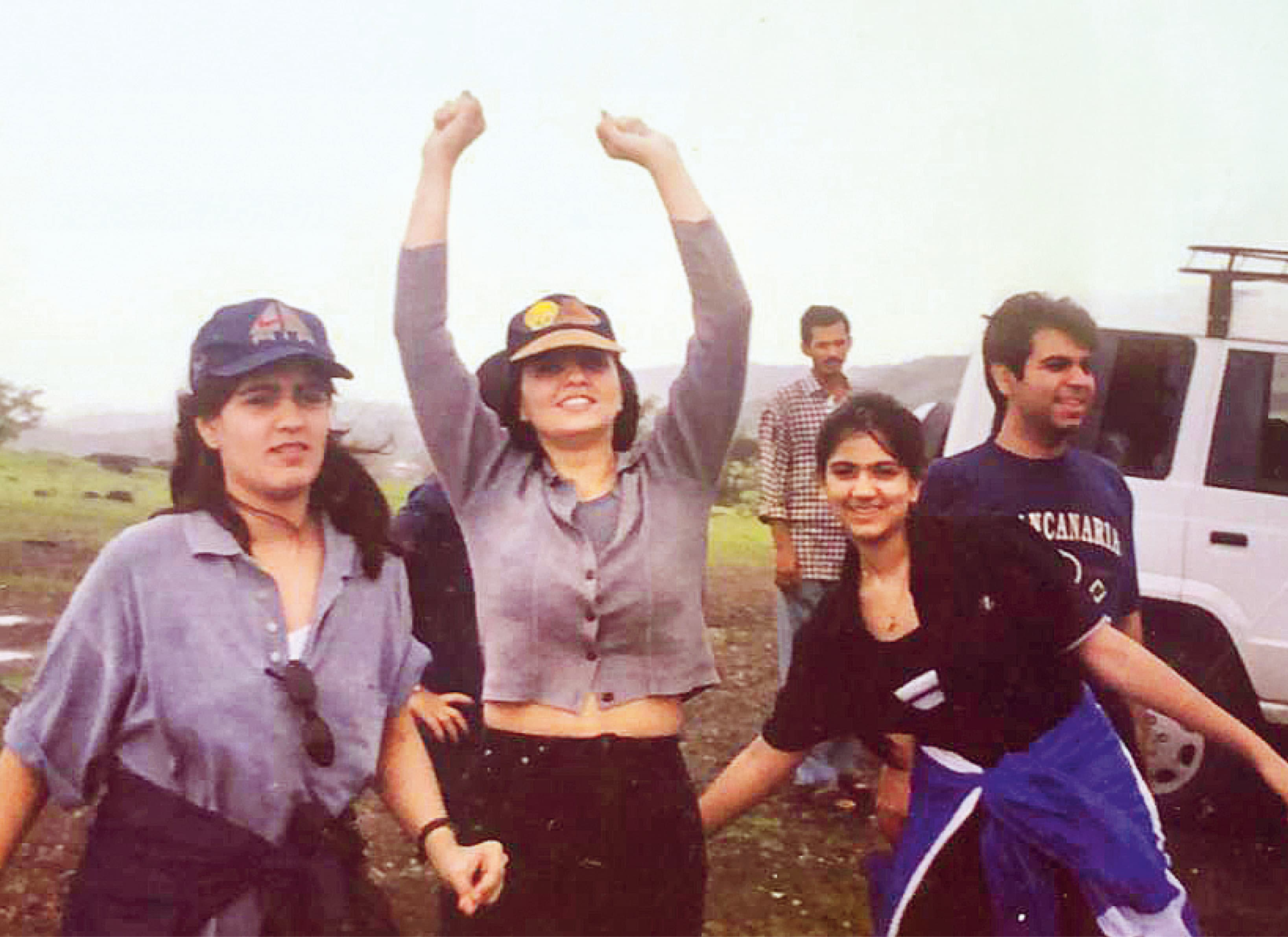 In Panchgani on vacation with her sister Pooja Jaising, her cousin Amit Chhabria and her daughter Nishka in the 90s