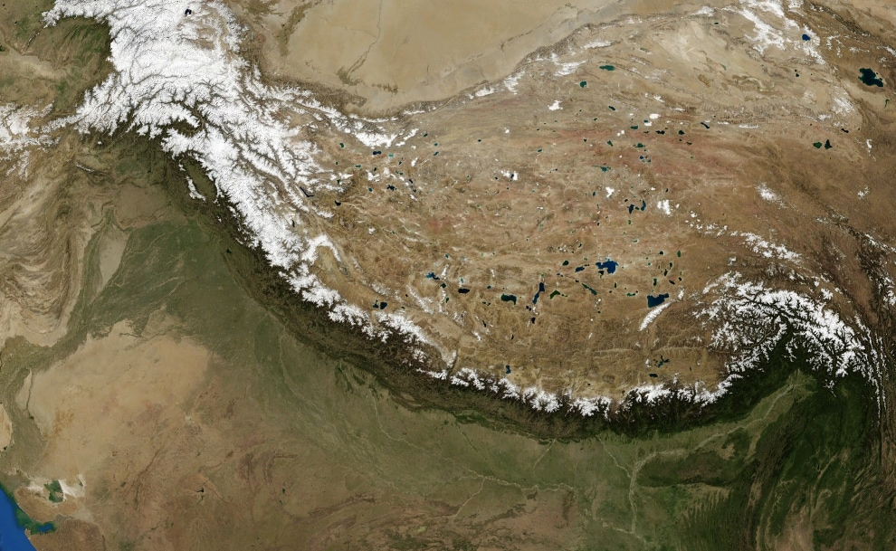 As the Indian Plate collided with the Eurasian Plate, the world's highest peaks were formed. (Landsat 7 Satellite / NASA)