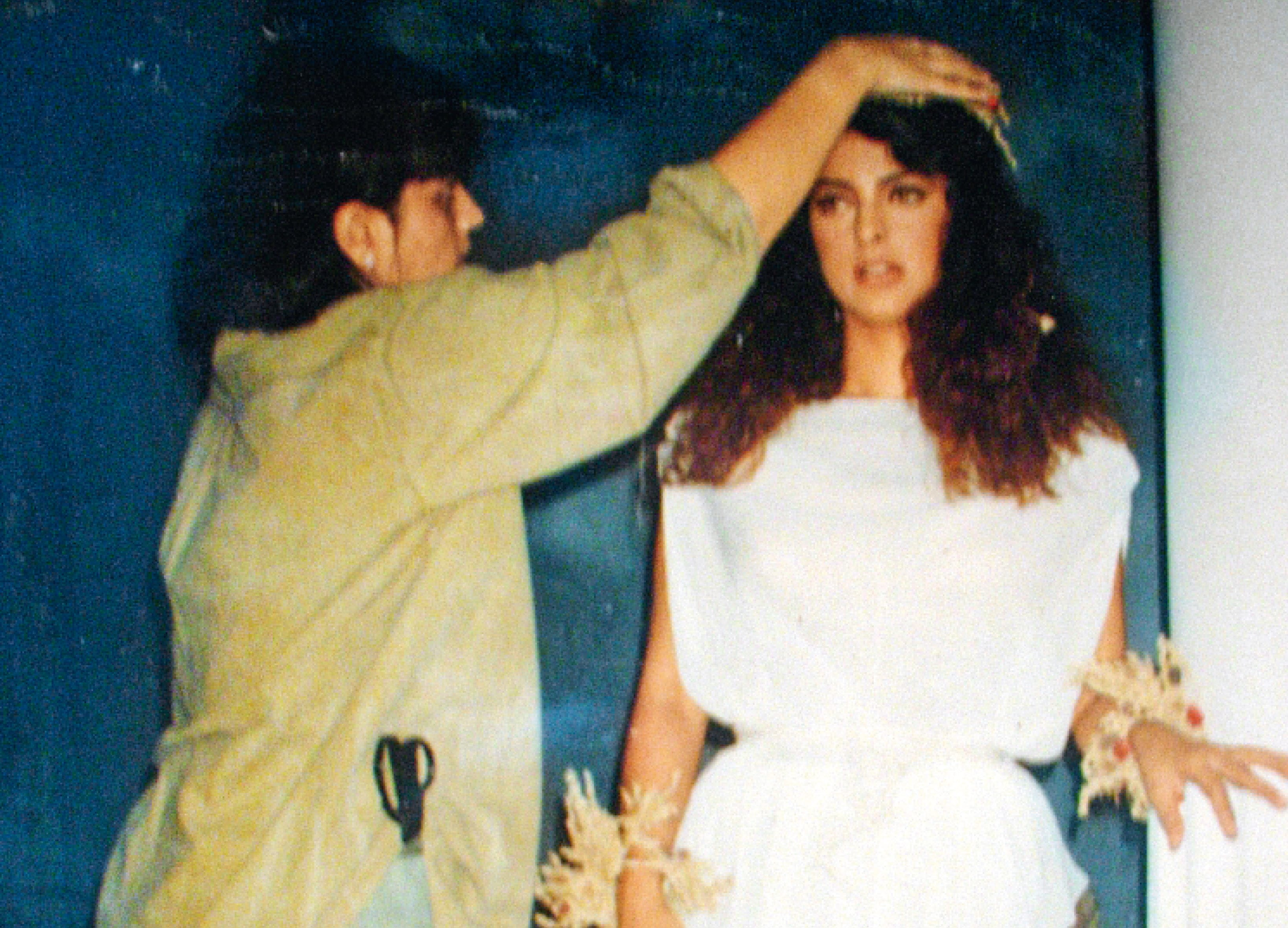 Give Juhi a Last Minute Touch for a Movie Magazine Photoshoot