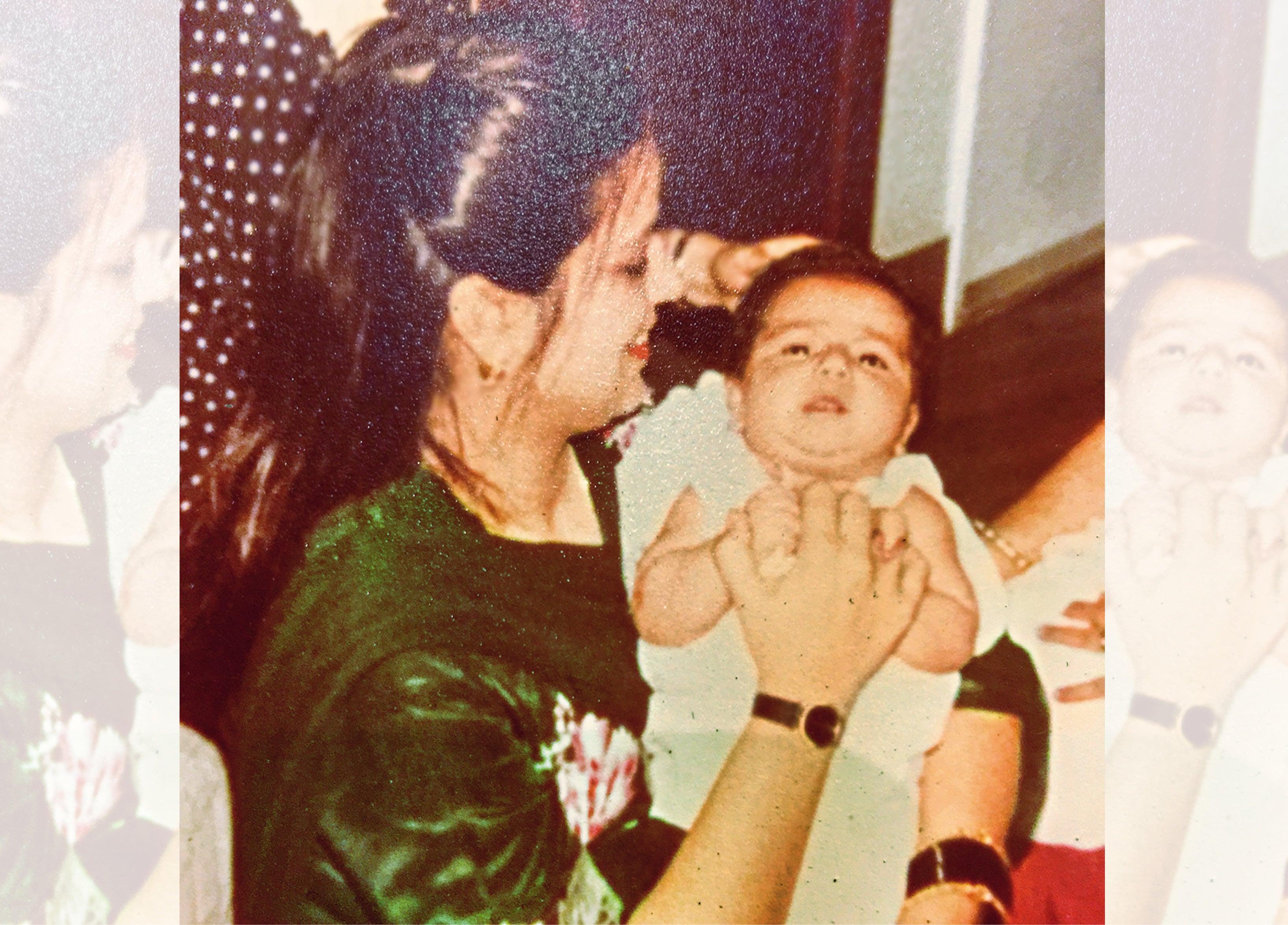With her newborn baby, Siddharth
