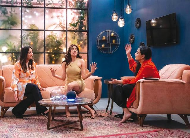 A still from Janice's YouTube show Social Media Star with Janice with guests Kusha Kapila and Janhvi Kapoor