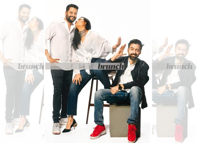 Aniruddha, Janice and Anirudh all agree that the no video aspect of Clubhouse takes away filters that may hold someone back, allowing them to be more authentic and candid, including celebrities; On Aniruddha: Shirt, H&M; jeans, Jack & Jones; shoes, Nike; On Janice: Jeans and white shirt, her own; jewellery, Janpath Online; On Anirudh: Shirt, Levi's; denim, U.S. Polo ASSN; jacket, Zara; watch, Fossil; sneakers, Nike Air Force 1 (Subi Samuel)