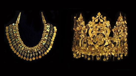 The Taliban have said they are tracking and will secure the 2000-year-old Bactrian gold treasure.(Thierry Ollivier/Musée Guimet)