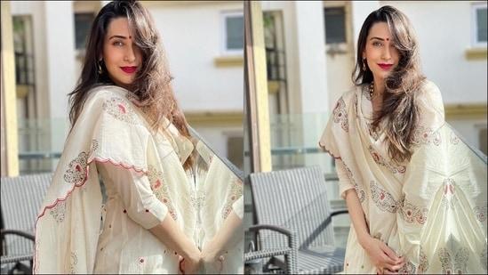 Karisma Kapoor looks angelic in <span class='webrupee'>₹</span>22.5k ivory Anarkali set, bold red lips(Instagram/therealkarismakapoor)
