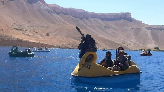 Some Taliban fighters were seen enjoying at Band-e Amir National Park. (Photo: Twitter/@Jake_Hanrahan)