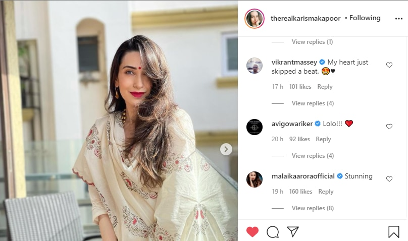 Vikrant Massey, Avi Gowariker and Malaika Arora shower praises on Karisma Kapoor(Instagram/therealkarismakapoor)