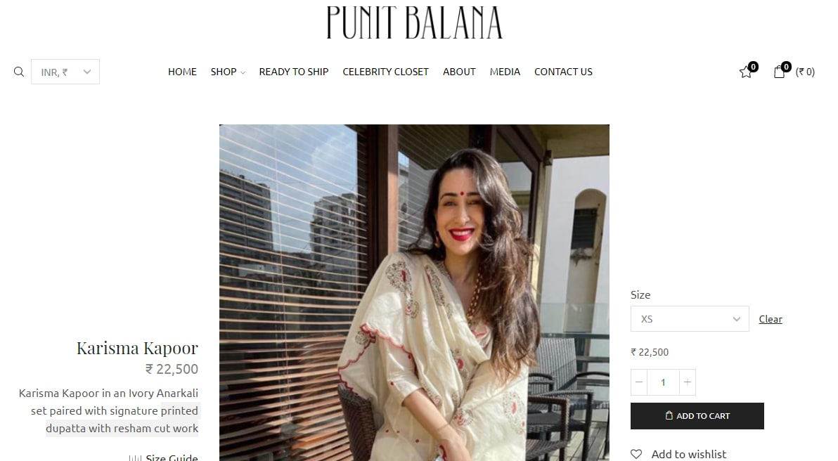 Karisma Kapoor's ivory Anarkali set from Punit Balana(punitbalana.in)
