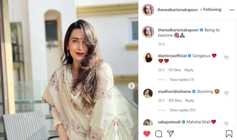Dia Mirza, Madhuri Dixit and Saba Pataudi can't hold back their compliments for Karisma Kapoor's beautiful look(Instagram/therealkarismakapoor)