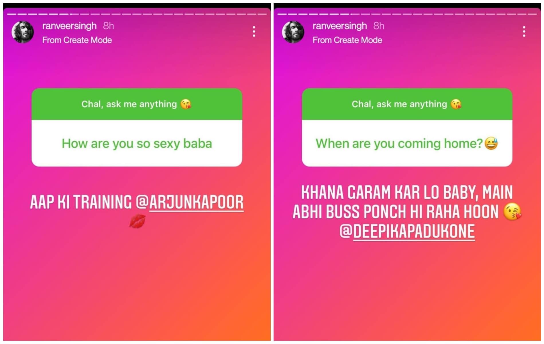 Ranveer Singh got questions from Deepika Padukone and Arjun Kapoor.
