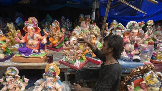 Delhi government organised a Ganesh Chaturthi event on September 10 which was broadcast live on television channels. (Picture for representation only/Biplov Bhuyan/HT)