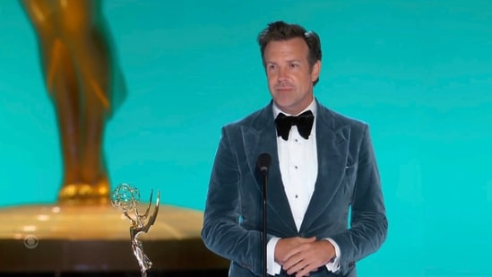 """In this video grab issued Sunday, Sept. 19, 2021, by the Television Academy, Jason Sudeikis accepts the award for outstanding lead actor in a comedy series for """"Ted Lasso"""" during the Primetime Emmy Awards. (Television Academy via AP)(AP)"""